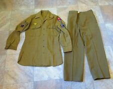 WWII US Army (ETOUSA) set of shirt & pants trousers with patches  Wool