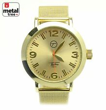 Men's Hip Hop Fashion Analog Stainless Steel Metal Mesh Band Watch/7362 GD