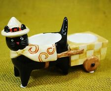 Yankee Candle Halloween Black Cat Witch w/Cart Tea Light / Votive Candle Holder