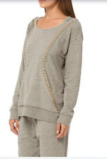 Gypsy05 Terry Loop Hooded Studded Pullover In HEATHER GREY Sz: S NWT $155