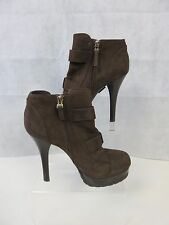 FENDI BUCKLED HIGH HEELED BOOTS BROWN SUEDE SIZE UK 6 EU 39