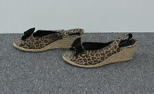 TU Leopard Print Canvas Slingback Wedge Sandals Size 7