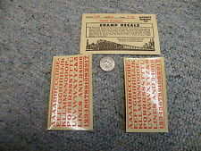 """Champ  decals HO Alphabet Numbers L-96 Penn Roman  red 3/16""""    M90"""