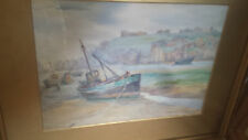 Mary Reade Watercolour Fishing Boats Antique  Edwardian Colourful Early 20th C