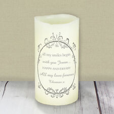 Personalised Message Ornate Swirl LED Candle - Anniversary, Wedding, Memorial