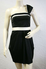 "$318 BCBG BLACK ""ORE6G103"" ONE SHOULDER BELT SATIN DRESS NWT 8"