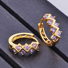 Childrens Kid Girls Safety purple crystal hoop earing Real 10k gold filled