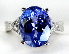 Tanzanite Ring Pave 6.23ct 14K White Gold Light Violet FREE NATURAL App. $8,469.