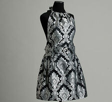 Midnight Damask Satin Apron, NEW, handmade in USA