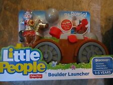 Fisher Price Little People Red Knight Castle Catapult Launcher Boulder Horse NEW
