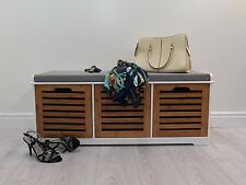 KENDAL WOODEN STORAGE BENCH WITH SEAT CUSHION-Bamboo (3 SEATER)-OT34
