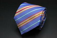 CHARLES TYRWHITT Tie. Blue w Orange Blue Red & White Stripes.