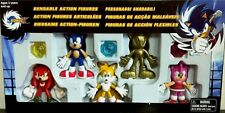 "Sonic X 3"" Sonic the Hedgehog Tails Knuckles Amy Rose Gold Sonic Bendable set NW"