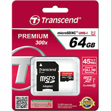 Transcend 64GB Micro SDXC Class10 Memory Card For GOPRO HERO3+ 1 2 Camera NEW