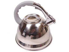Anika 3 Litre Stainless Steel Whistling Kettle in Chrome with Silicone Handle