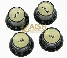 4x LP Guitar Reflector Knobs Black/Gold Top Hat Knobs Fits Epiphone Les Paul SG