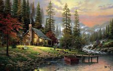 Framed Print - Lone Hunters Cabin in the Woods (Picture Poster Forest Scenic Art