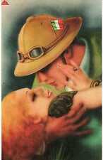 Riproduzione Cartolina  Amore 1936 Italia Bacio all'amato tornato dall'Abissinia