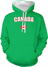 Canada Country Flag Pride Red Maple Leaf Hockey Sports 2-tone Hoodie Pullover