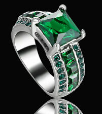 Lady/Women's Silver 14KT White Gold Filled Emerald Wedding Ring Gift size 6