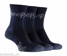 3 pairs  Ladies Jeep Terrain Cushion sole Cotton Hiking Socks 4-7 uk Navy