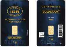 1 gram Istanbul Gold Refinery (IGR) Bar .9999 Fine (In Original Assay Card)
