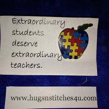Autism Awareness Apple Pin Puzzle Piece Tac Lapel Great for Teachers!