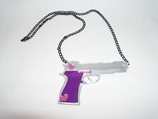 Gun,Sexy, Retro,Heart,Charm Necklace Comes With 24in Chain