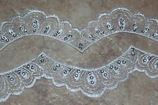 2 yards White wedding bridal embroidered Scalloped Organza lace Trim sequins w54