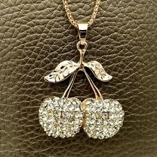 Fashion Golden Cherry Crystal Sweater chain Charm necklace Pendants DL630