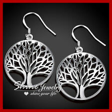 925 Sterling Silver Tree of Life Leaf Leaves Classic Timeless Dangle Earrings