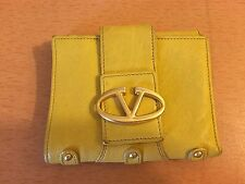 "AUTHENTIC VALENTINO GARAVANI SIGNATURE YELLOW LEATHER WOMEN WALLET 4.8 ""X 4.4"""
