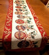 6ft Christmas Ornaments Tapestry Table Runner Holiday Decor NEW