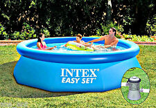 NEW INTEX 8ft X 30in EASY SET POOL ABOVE GROUND SWIMMING POOL FOR FAMILY W/FILTE