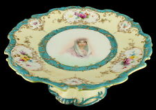 Antique Nippon NPSK Hand Painted Portrait Comport Compote Moriage Jeweled Rococo