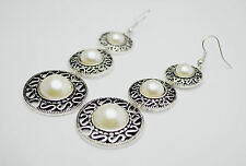 Boho Vintage Antique Silver Circle with Pearl Drop Dangle Chandelier Earrings
