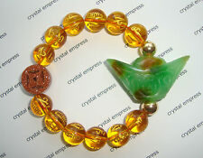 Feng Shui - Green Jade Ingot & I-Ching Coin with 12mm Citrine Mantra