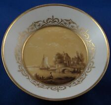 Antique 18th KPM Berlin Porcelain Sepia Scene Saucer Porzellan Untertasse Scenic