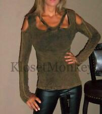 SEXY MINERAL BROWN RUST COLD SHOULDER THERMAL LONG CUT-OUT BUST KNIT TOP LARGE L