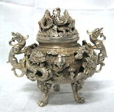 preeminent Tibet silver nine dragon censer