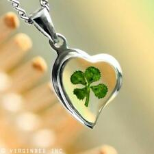 REAL CLOVER 4-LEAF SHAMROCK HEART LUCKY CHARM PENDANT STERLING SILVER NECKLACE
