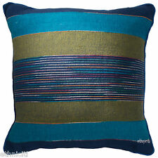 Cotton Stripe Cushion Cover Indian Handwoven Red Green Blue Natural 60x60cm 24""