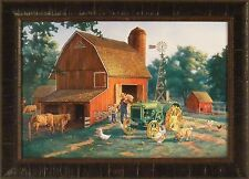 DADDY'S LITTLE HELPER by Charles Freitag 20x28 FRAMED PRINT Barn Farm Tractor