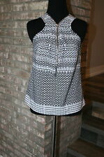 Paper Tee Womens Black and White Tank Blouse SZ S