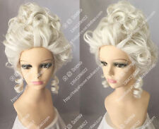 European noble court wig White gold queen princess Curly hair Costume party wig