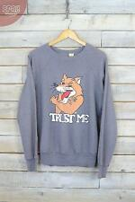 "Vintage ""Trust Me"" Fox Grey College Sweater (M)"