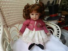 "Adora Baby Doll 20"" Sweet Pink Dress Sweater Headband Brunette Hair Blue Eyes"