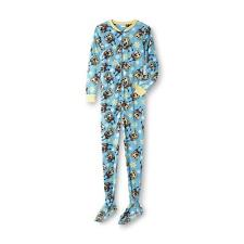 SPONGEBOB Squarepants Womens size Large Pajamas 12/14 One Piece Footed Zip Up