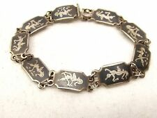 Vtg Sterling Silver Siam Thai Dancer Link Bracelet Goddess Niello Ware Goddess