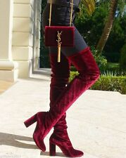ZARA NEW VELVET OVER THE KNEE HIGH HEEL BOOTS BURGUNDY SIZE UK 3 36 5008/101